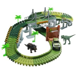 this is an image of a toy dinosaur racing track