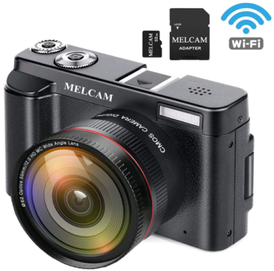 This is an image of teen's digital video camera with memory card in black color