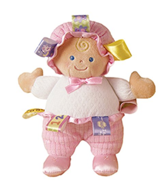 This is an image of a 8-inch pink taggies baby doll by Mary Meyer.