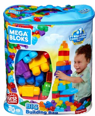 This is an image of a blue building blocks in a bag by Mega Brands.