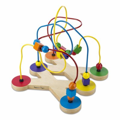 This is an image of a colorful wooden bead maze by Melissa and Doug.