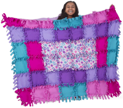 This is an image of girl's Flower fleece quilt by Melissa and doug in colorful colors