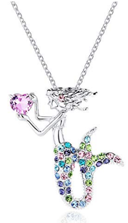 This is an image of girl's mermaid necklace jewelry crystal