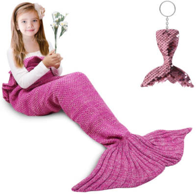 This is an image of girl's Mermaid Blanket in pink color