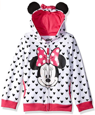This is an image of kid's minnie hoodie with bow and ear in white and pink colors