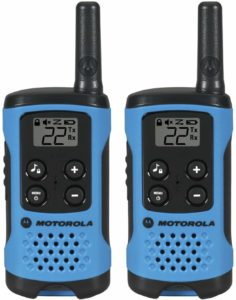 two blue motorola walkie talkies