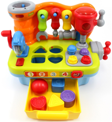 This is an image of toddler's musical workbench toy, multi-colors