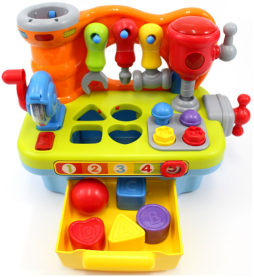 This is an image of kid's musical workbench toy, multi-colors