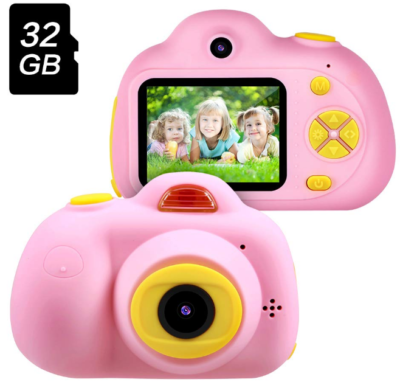 This is an image of girl's camera with memory card in pink color
