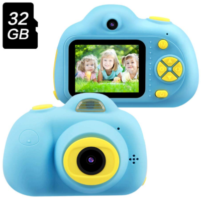 This is an image of kid's digital video camera with memory card in blue color