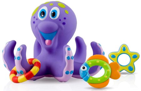 This is an image of toddler's octopus bath toy in purple color