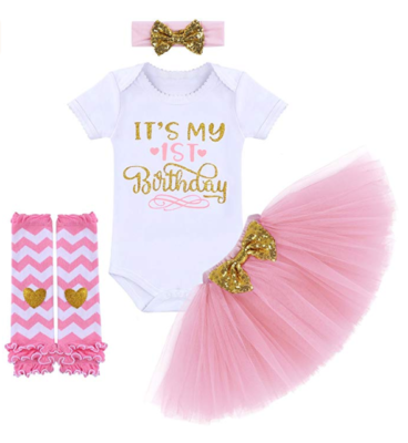 This is an image of a pink birthday outfit with headband and leg warmer.