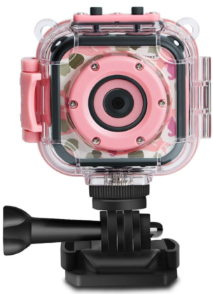 This is an image of girl's HD Action camera in pink color by PROGRACE