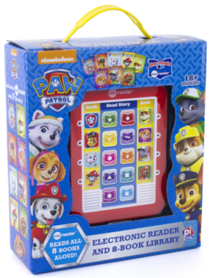 This is an image of kid's paw patrol electronic reader in red color