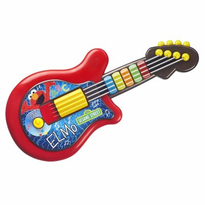 This is an image of a red sesame street guitar for toddler.