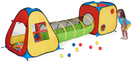 This is an image of toddler's tent with tunnel in Multi-colors