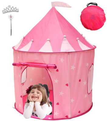 This is an image of girl's castle tent set in pink color