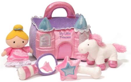 This is an image of kid's princess castle plush playset