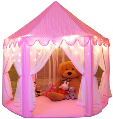This is an image of kid's playhouse tent in pink color