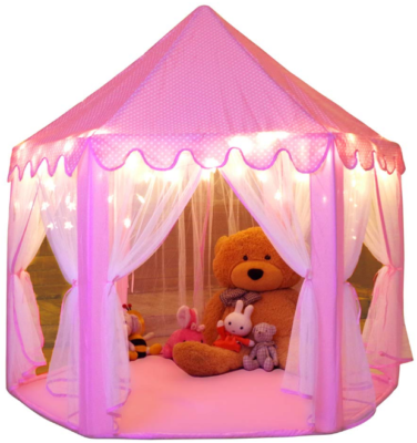 This is an image of kid's princess tent playhouse in pink color