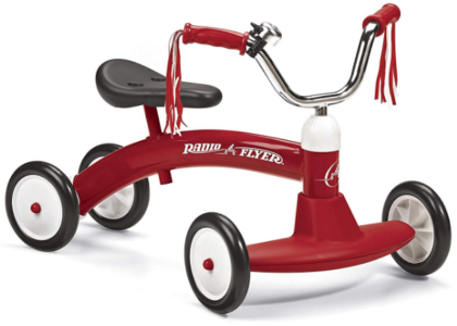 This is an image of toddler's bike in red and white colors by Radio flyer