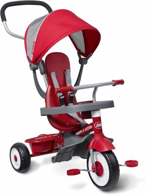 This is an image of a red 4 in 1 trike for babie by Radio Flyer.