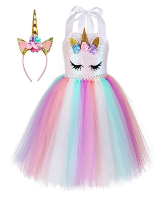This is an image of a colorful unicorn dress with headband for girl.