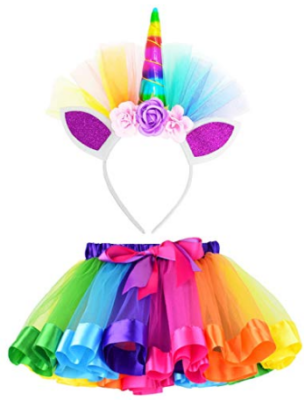 This is an image of kid's skirts with unicorn in colorful colors