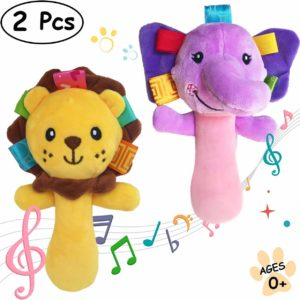 lion and elephant rattle squeaker sticks
