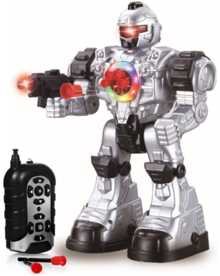 This is an image of kid's robot toy with remote control in gray and black colors