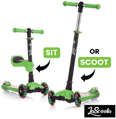 This is an image of kid's Scooter with removable seat in black and green colors