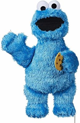 This is an image of a 13 inch cookie monster plush toy by Sesame Street.