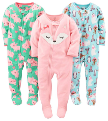 This is an image of a 3 pack footed pajamas for babies by Simple Joys by Carter's