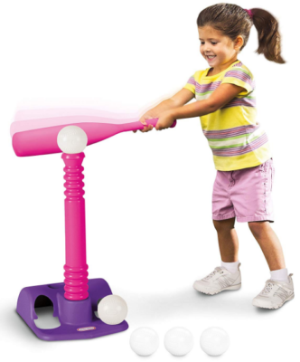 This is an image of kid's T-ball toy set in pink and purple colors