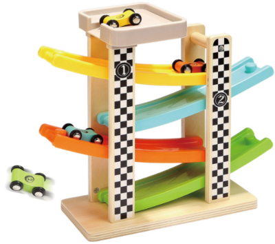 This is an image of toddler's wooden race car in multi-colors