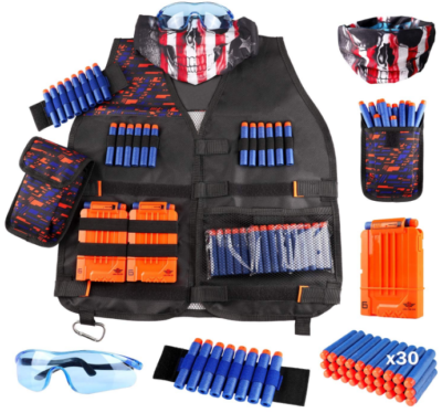 This is an image of kid's vest nerf guns in black color