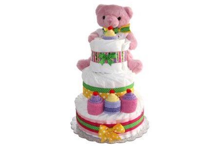 This is the image of Teddy Bear themed Girls DiaperCake