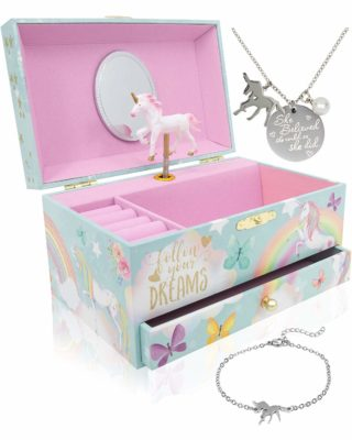 This is an image of a unicorn music box for girls.