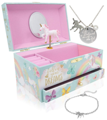 This is an image of girl's unicorn music box with necklace gift in multi-colors