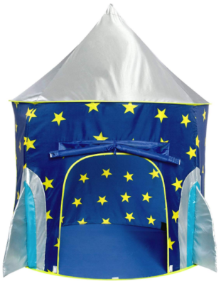 This is an image of kid's play tent in rocket design