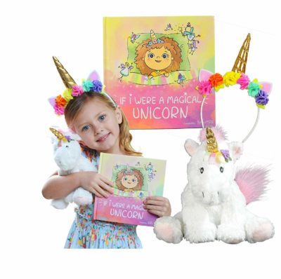 This is an image of a little girl with her unicorn set.