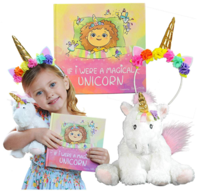 This is an image of kid's Unicorn book with plush set