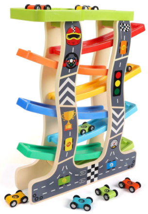 This is an image of kid's wooden car race in colorful colors