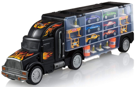 This is an image of kid's transport carrier truck in black color