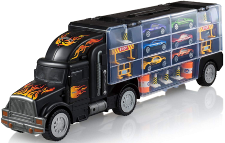 This is an image of toddler's transport car carrier in black color