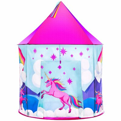 This is an image of a unicorn playhouse for girls.