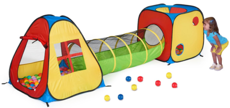 This is an image of toddler's tent with tunnel in colorful colors
