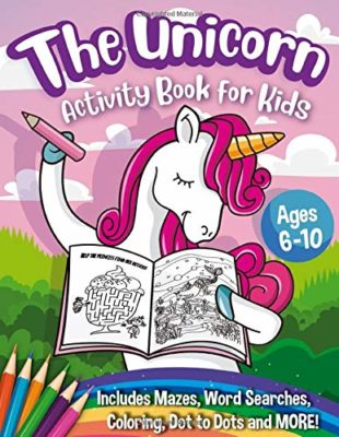 This is an image of a unicorn work book for girls.