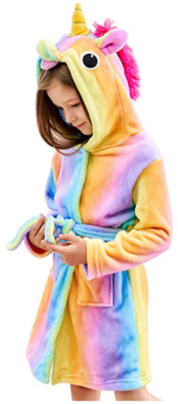 This is an image of teen's soft unicorn hooded bathrobe in colorful colors
