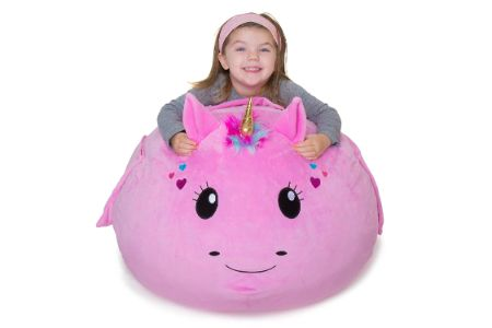 This is the image of Unicorn storage bean bag for kids